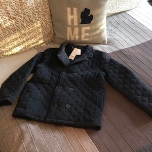 NEW Boys L 10 12 Navy Quilted Peacoat Jacket Coat